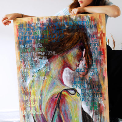 """È tutto un gioco"" 70x100cm, mixed media on canvas"