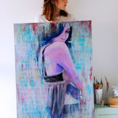 """Io sono la nuvola"" 70x100cm, mixed media on canvas"